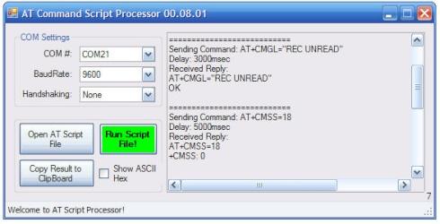 AT command script processor for GSM modem debugging
