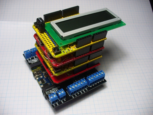 Arduino shields stacked