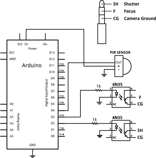 схема arduino с датчиком движения