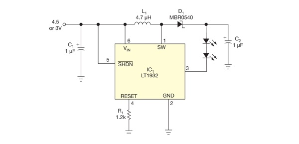 LED_flashlight_circuit_works_at_voltages_as_low_as_0_5V_figure_1