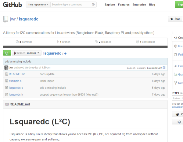 Lsquaredc, a library for I2C communications for Linux