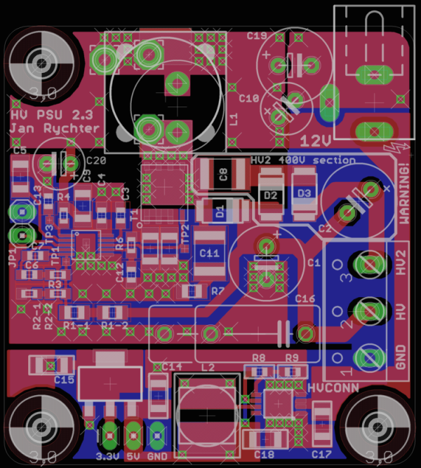 PCB layout for the switch-mode HV PSU