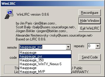 USB IR Toy: Configure WinLIRC - DP