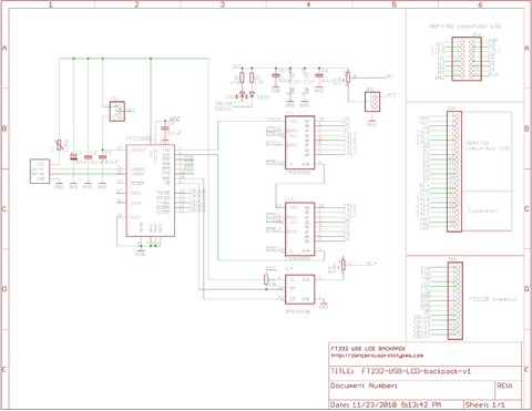 USB Universal LCD backpack schematic and partlist - DP on