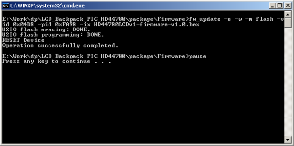 USB and serial enabled LCD backpack firmware updates - DP